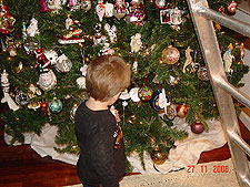 Hunter looking at ornaments.